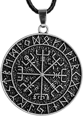 Large Viking Compass Norse Symbol Viking/'s Vegvisir Silver Color Rune Circle amulet pendant necklace with Chain Gift
