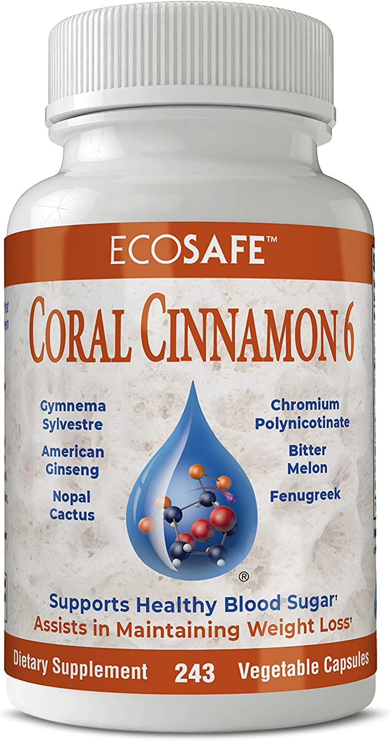 Coral Cinnamon 6, Cinnamon Capsules with Chromium, Bitter Melon Healthy Blood Sugar Support 243 Capsules