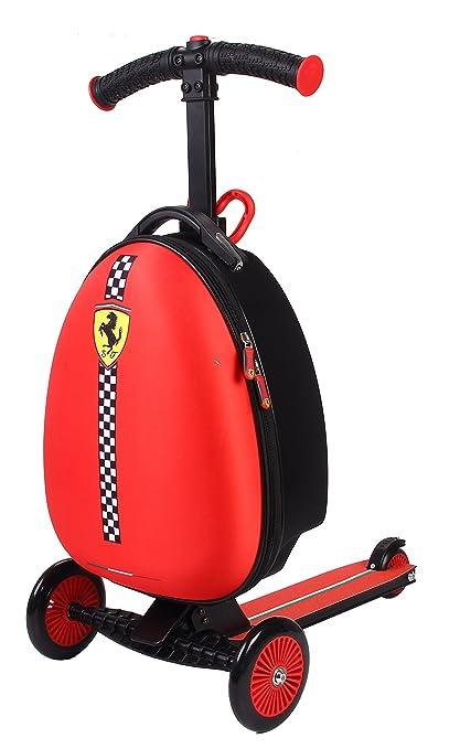 Ferrari Patinete Equipaje Maleta Scooter niños tres ruedas Plegable Escúter de altura ajustable Carga máxima 50 kg Rojo