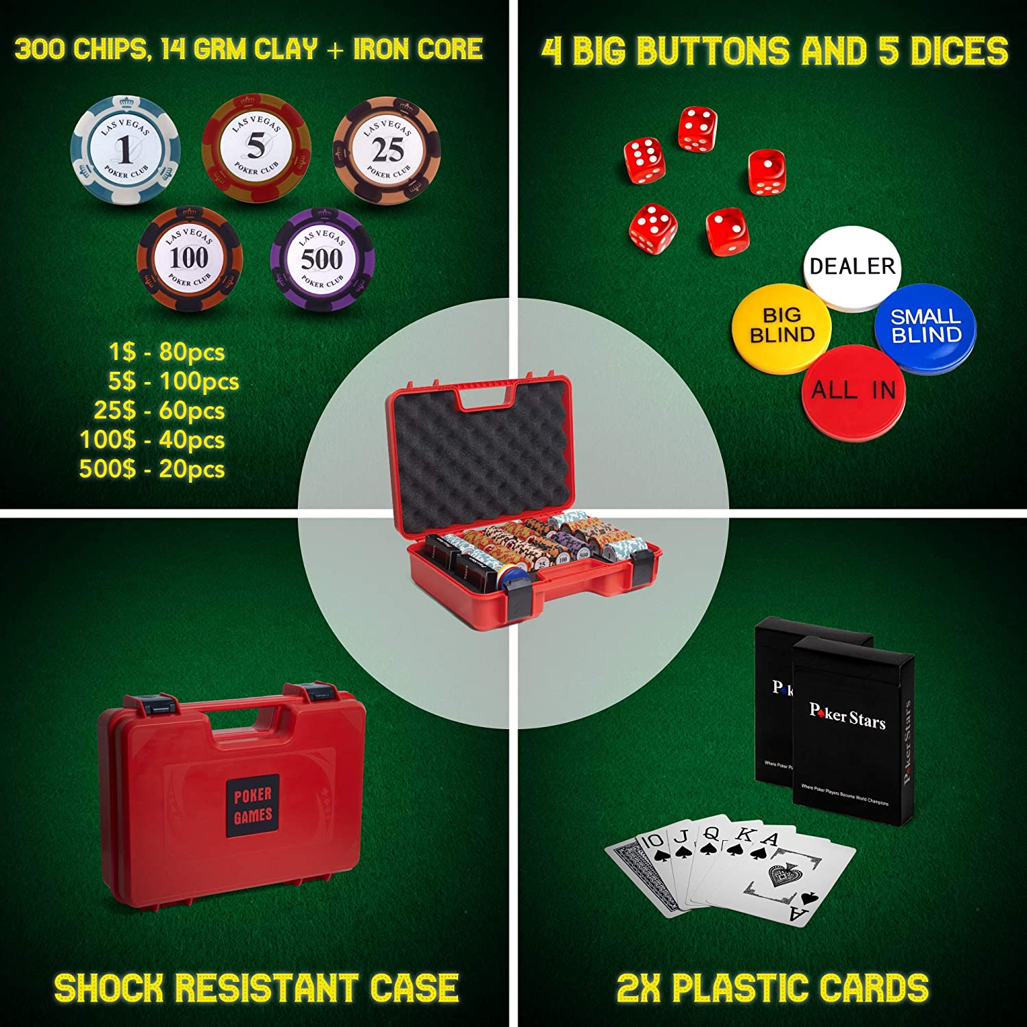Features a Tasteful Shock Resistant Poker Case Casino Chips Grade Black Jack RUNIC Exclusive Poker Set 300 pcs 14 Gram Clay Poker Chips for Texas Holdem