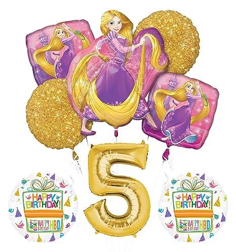 New Tangled Rapunzel Disney Princess 5th Birthday Party Balloon Decorations Supplies