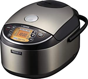 Zojirushi Pressure Induction Heating Rice Cooker & Warmer, 10 Cup, Stainless Black, Made in Japan