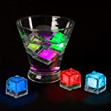 Lavish Home LED Ice Cube Shape Lights-Liquid Activated Submersible, Reusable-Color Change, Battery Operated for Weddings, Par