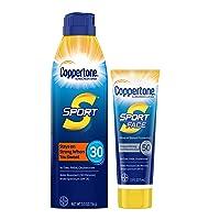 Coppertone Sport SPF 30 Sunscreen Spray + Sport Face SPF 50 Mineral Based Sunscreen Lotion Multipack (5.5 Ounce Spray + 2.5 Fluid Ounce Lotion), 5.5 Fl Ounce