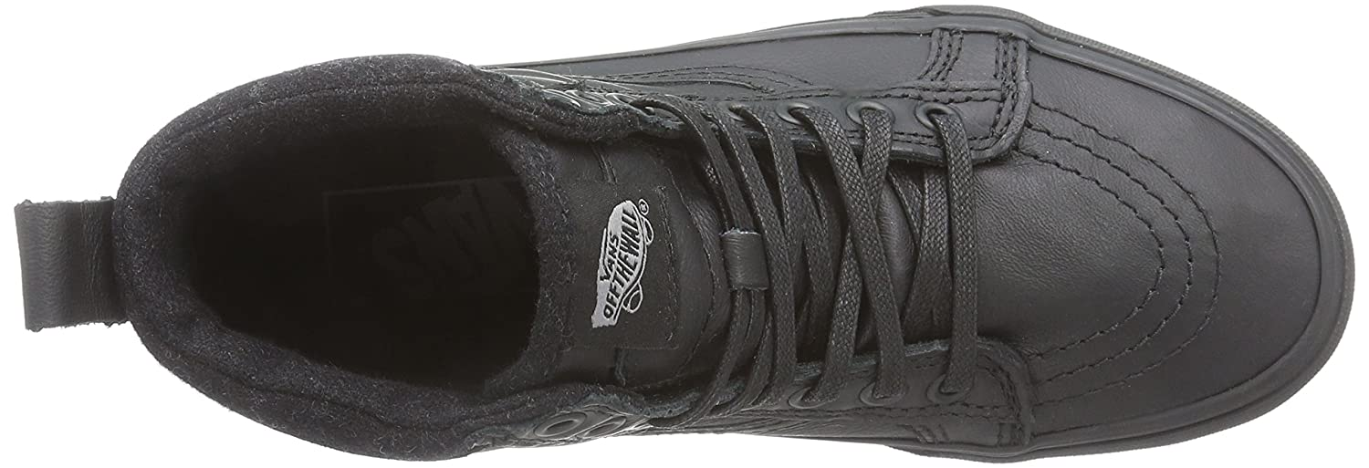 Vans Sk8-Hi Unisex Casual High-Top Skate Shoes, Comfortable and Durable in Signature Waffle Rubber Sole B00RQNBY3Q 10.5 M US Women / 9 M US Men|Black Leather