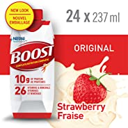 BOOST Original Strawberry Meal Replacement Drink, 24 x 237ml - PACKAGING MAY VARY