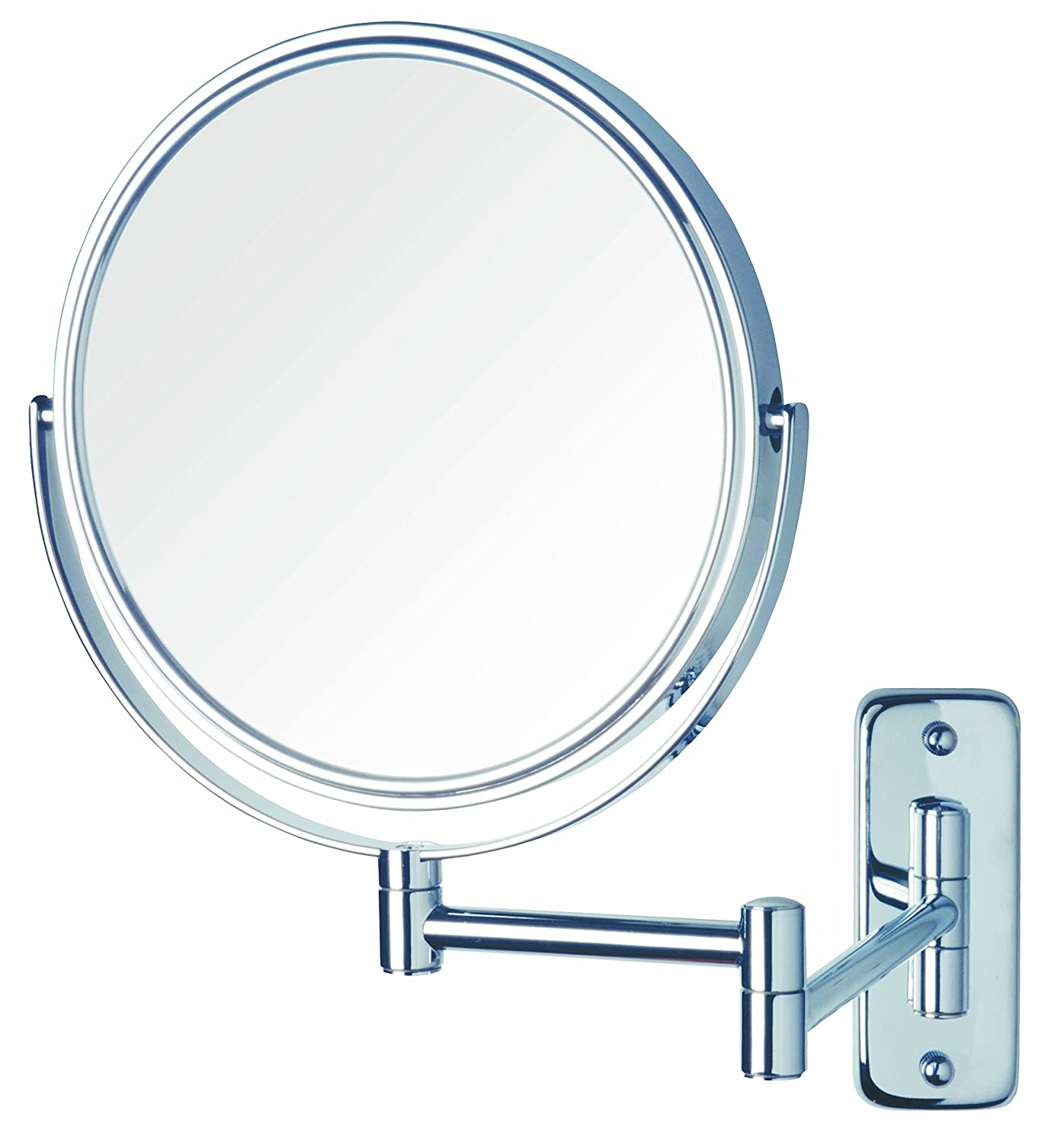 Jerdon JP7808N 8-Inch Two-Sided Swivel Wall Mount Mirror with 8x Magnification, 13.5-Inch Extension, Nickel Finish