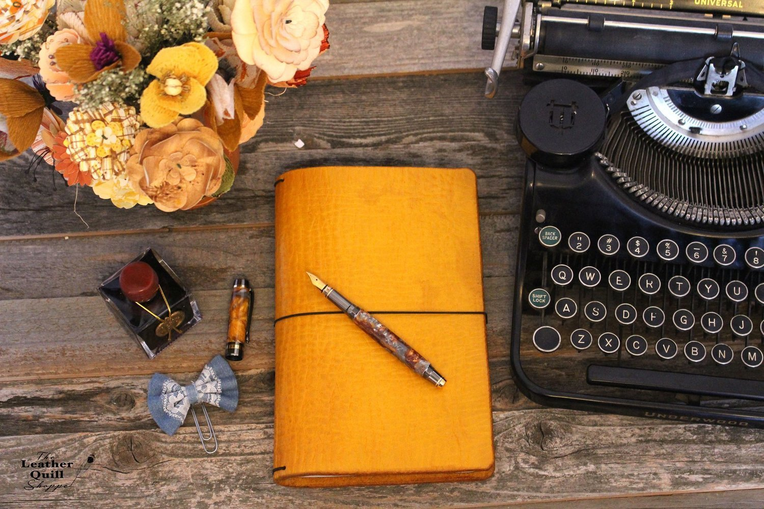 Yellow Leather Quill Traveler's Notebook - 13 Sizes