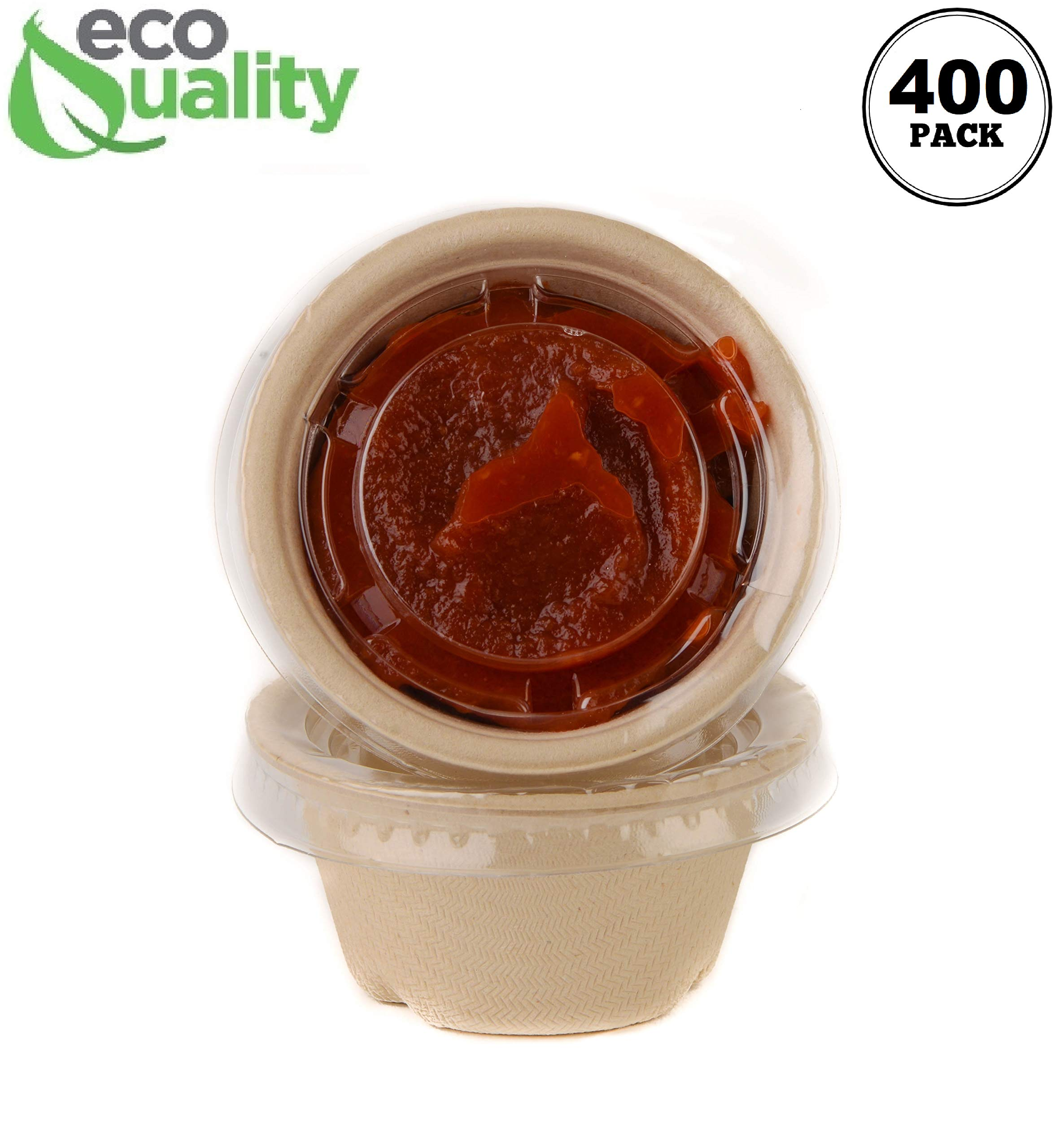 [400 Pack] 2 Oz Compostable Condiment Souffle Bagasse Cups with Lids - Portion Cup with Lid Sugarcane, Biodegradable Perfect for Sauces, Samples, Condiments, Slime, Jello Shot, Food Storage by EcoQuality