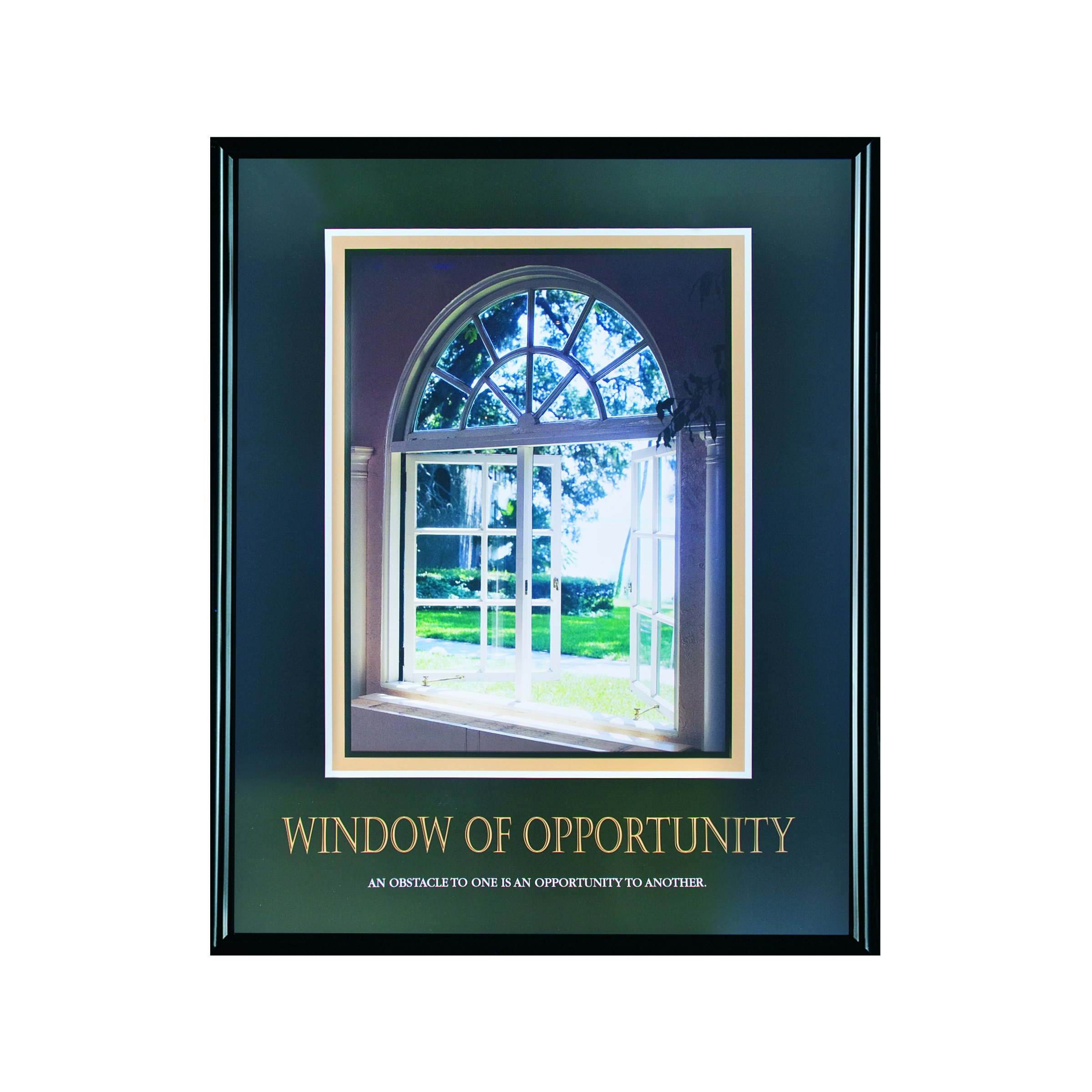 ADVANTUS Framed Motivational Print, Window of Opportunity, 24 x 30 Inches, Black Frame (78078)