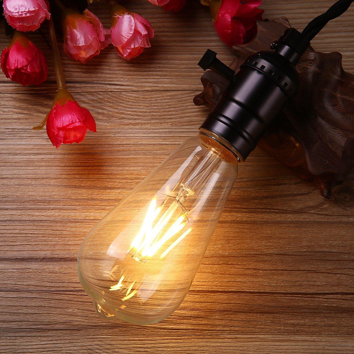 KINGSO LED Edison Retro Gl/ühbirne 4W E27 Birne 4 hartes Faden Filament ST64 Vintage Eichh/örnchen K/äfig Gl/ühbirnen Beleuchtung Warmwei/ß Dimmbare 220V 6 Pack