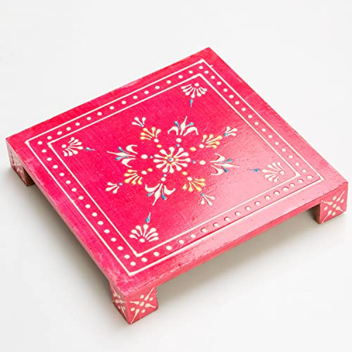 Rusticity Wooden Pooja Chowki Altar Table Handmade 8x8x1.2 in