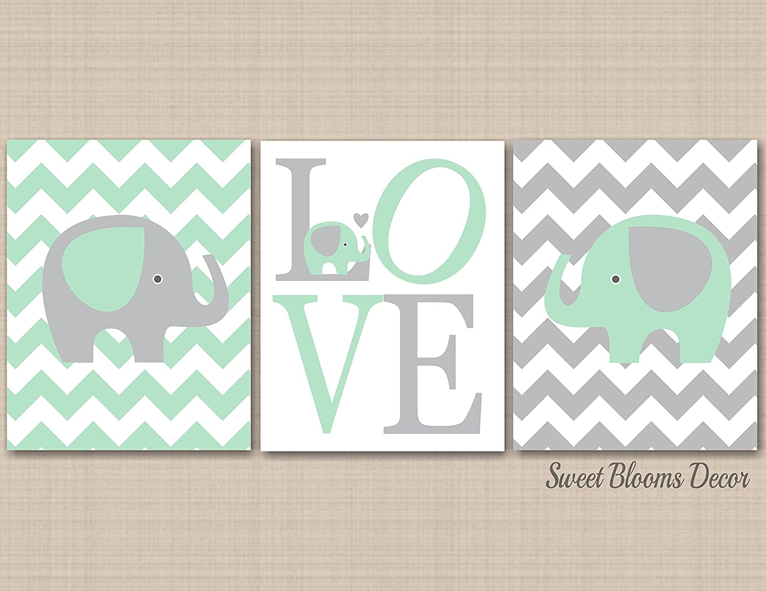 Amazon.com: Mint Gray Elephant Nursery Wall Art, Elephant Nursery ...