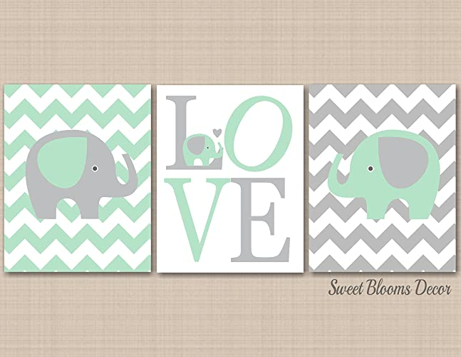 amazon com mint gray elephant nursery wall art elephant nursery