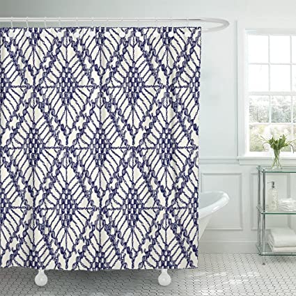 Amazoncom Emvency Shower Curtain Knitted Patterns Crochet Mesh