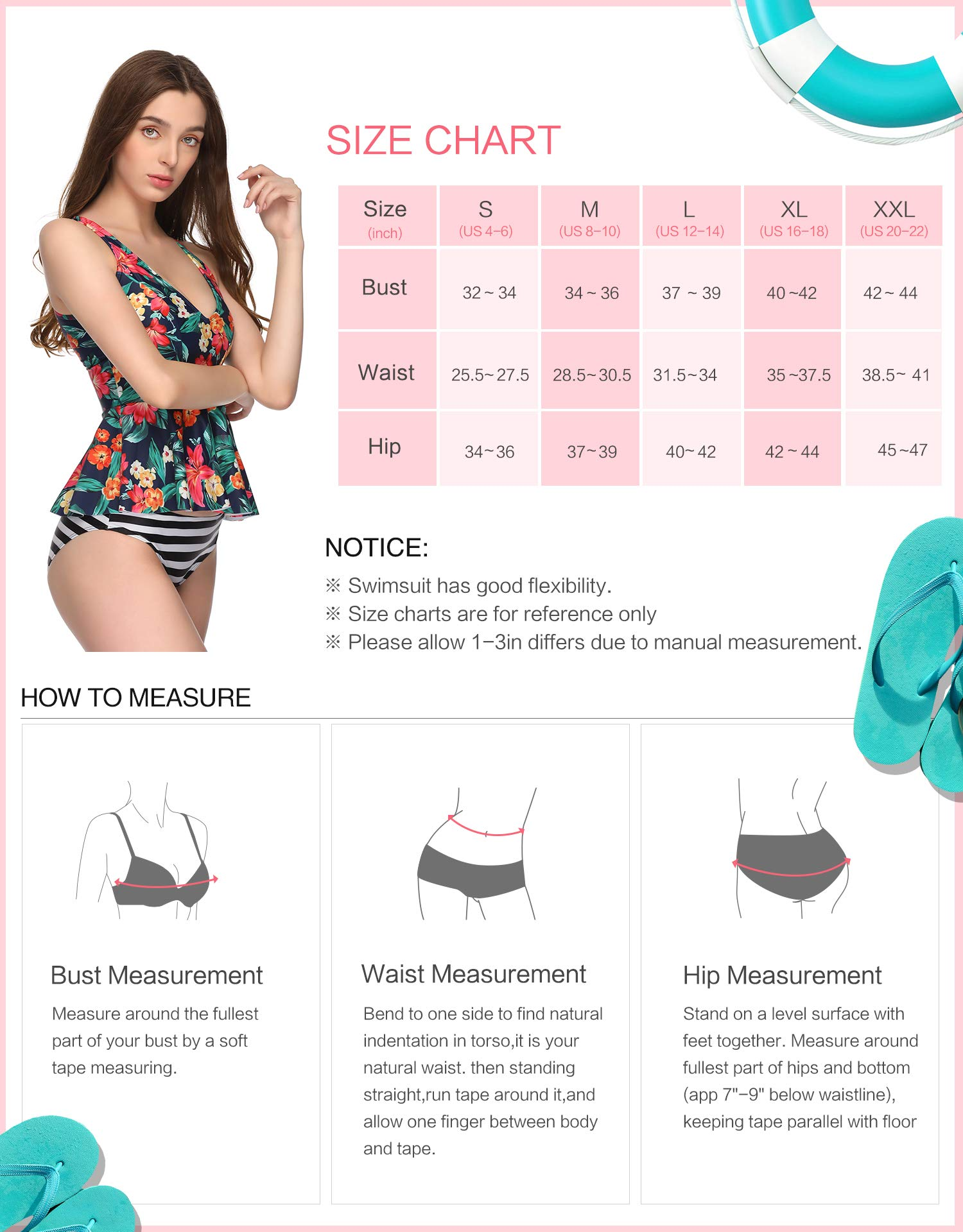Verano Playa Women Tankini Swimsuit Ruched Ruffle Racerback Two Piece Striped Print Bathing Suit Tummy Control Swimwear