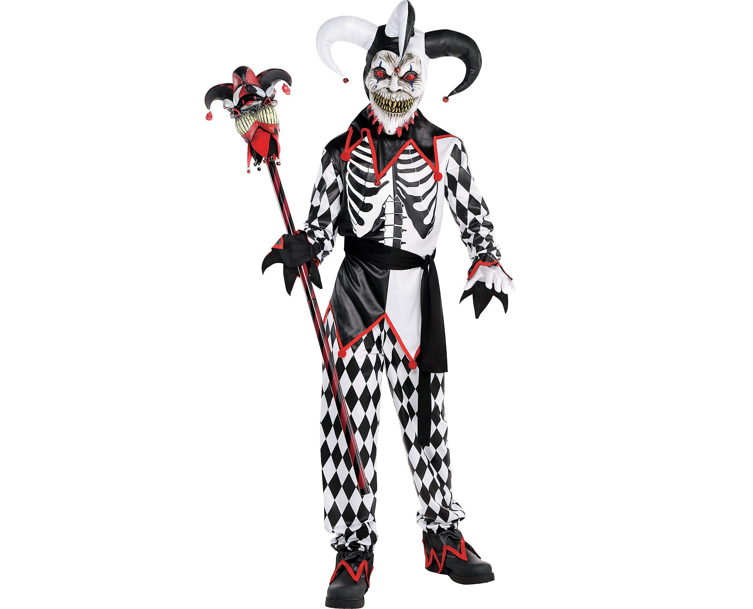 AMSCAN Sinister Jester Halloween Costume for Boys, Large, with Included Accessories
