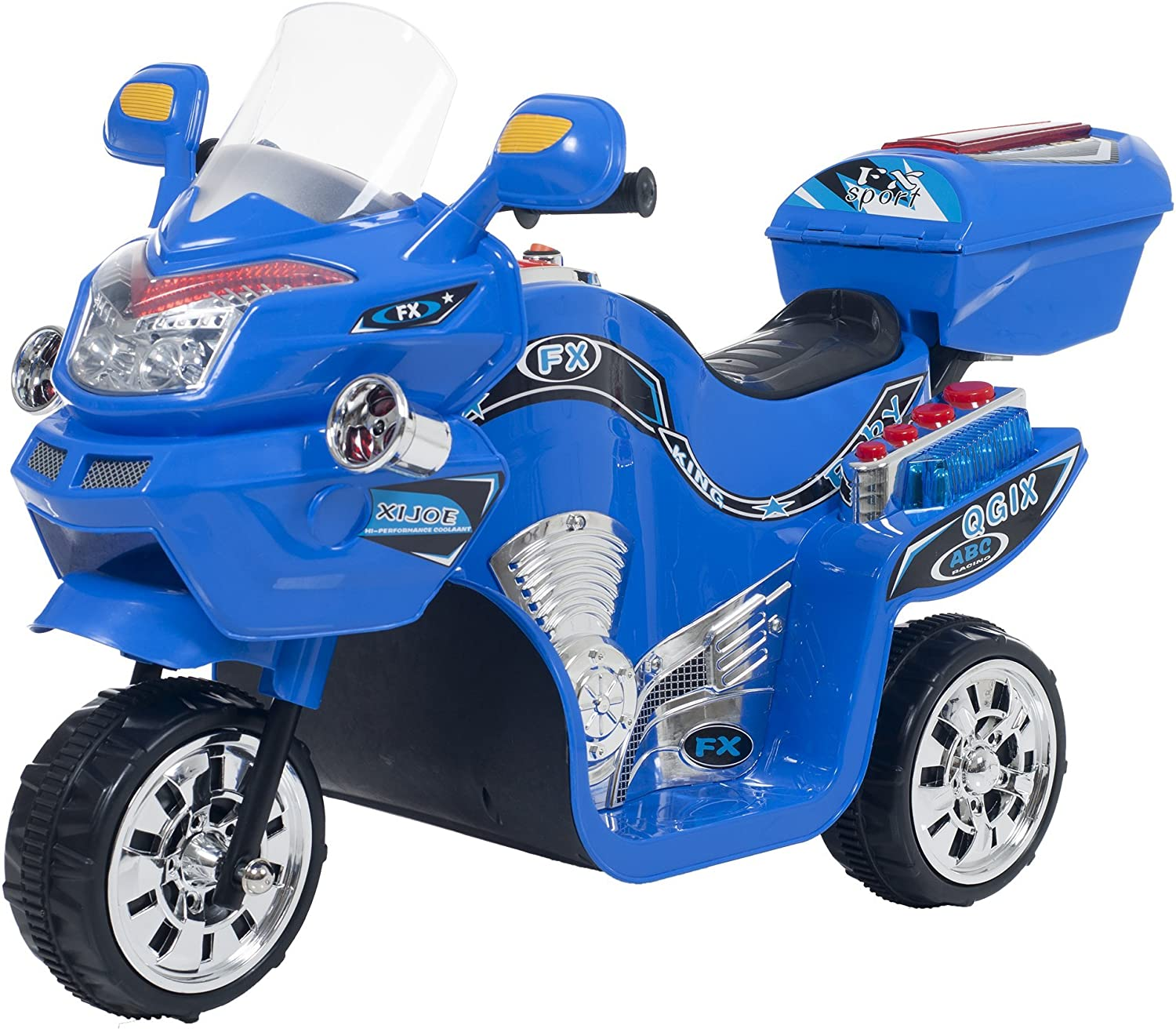 Ride on Toy, 3 Wheel Motorcycle Trike for Kids by Rockin' Rollers– Battery Powered Ride on Toys for Boys and Girls, 2 - 5 Year Old - Blue FX