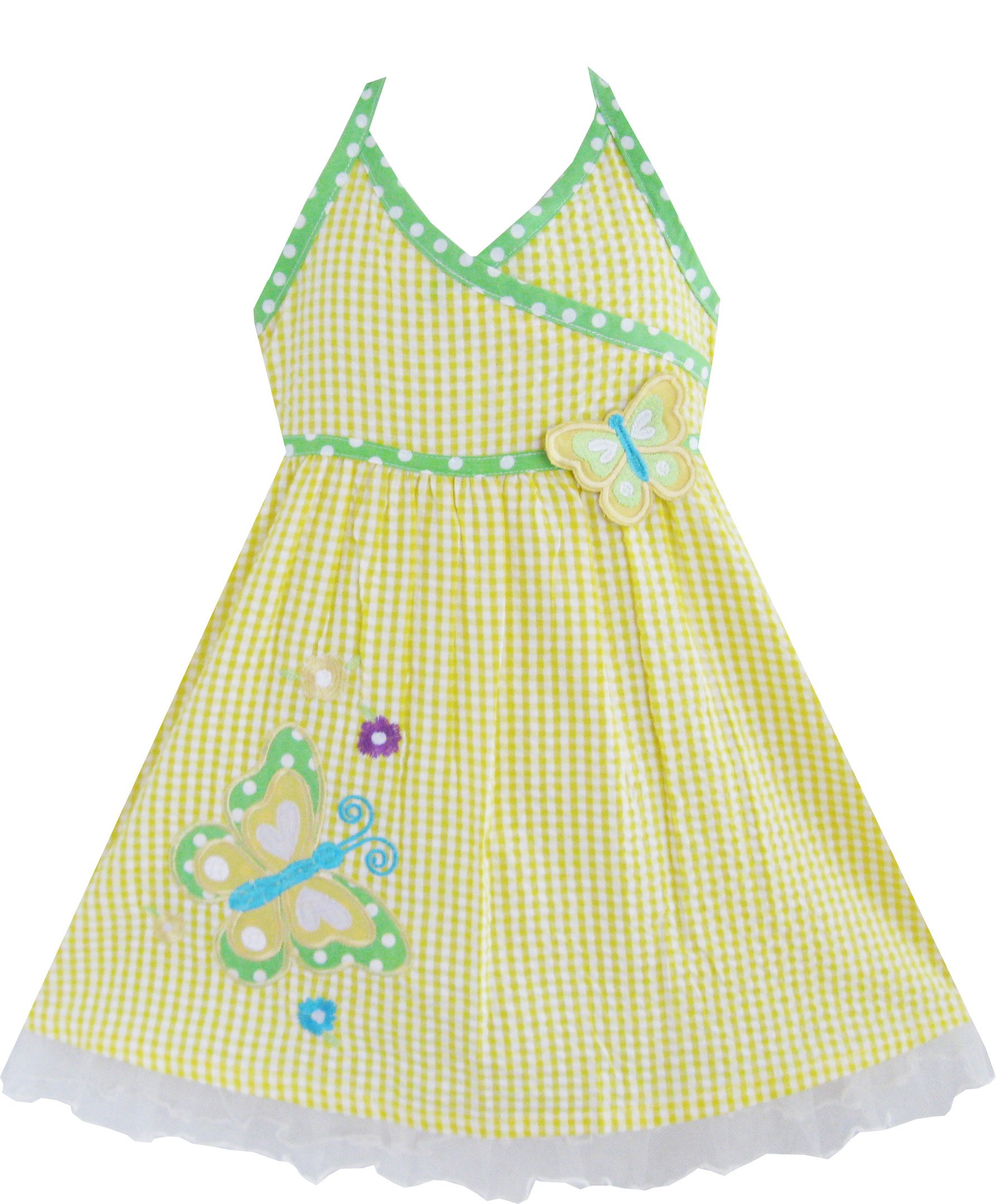 Sunny Fashion Girls Dress Yellow Tartan Two Butterfly Embroidered Tank 2