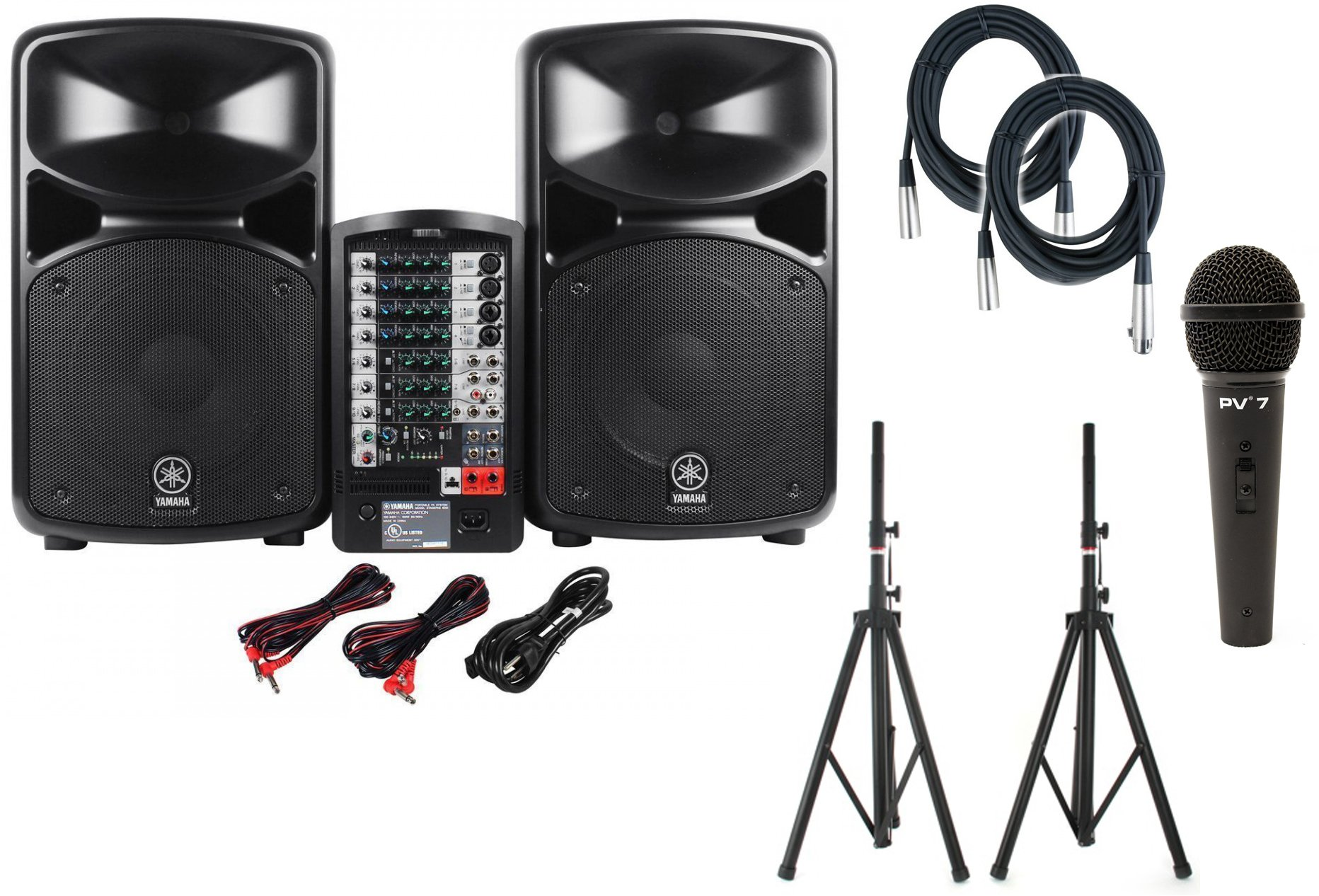 Yamaha STAGEPAS 600I Portable PA System w/ Speaker Stands, Microphone, and (2) XLR Cables