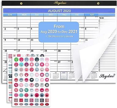 2020-2021 Desk Calendar Standing Flip Calendar 2020-2021 with Premium White Pa