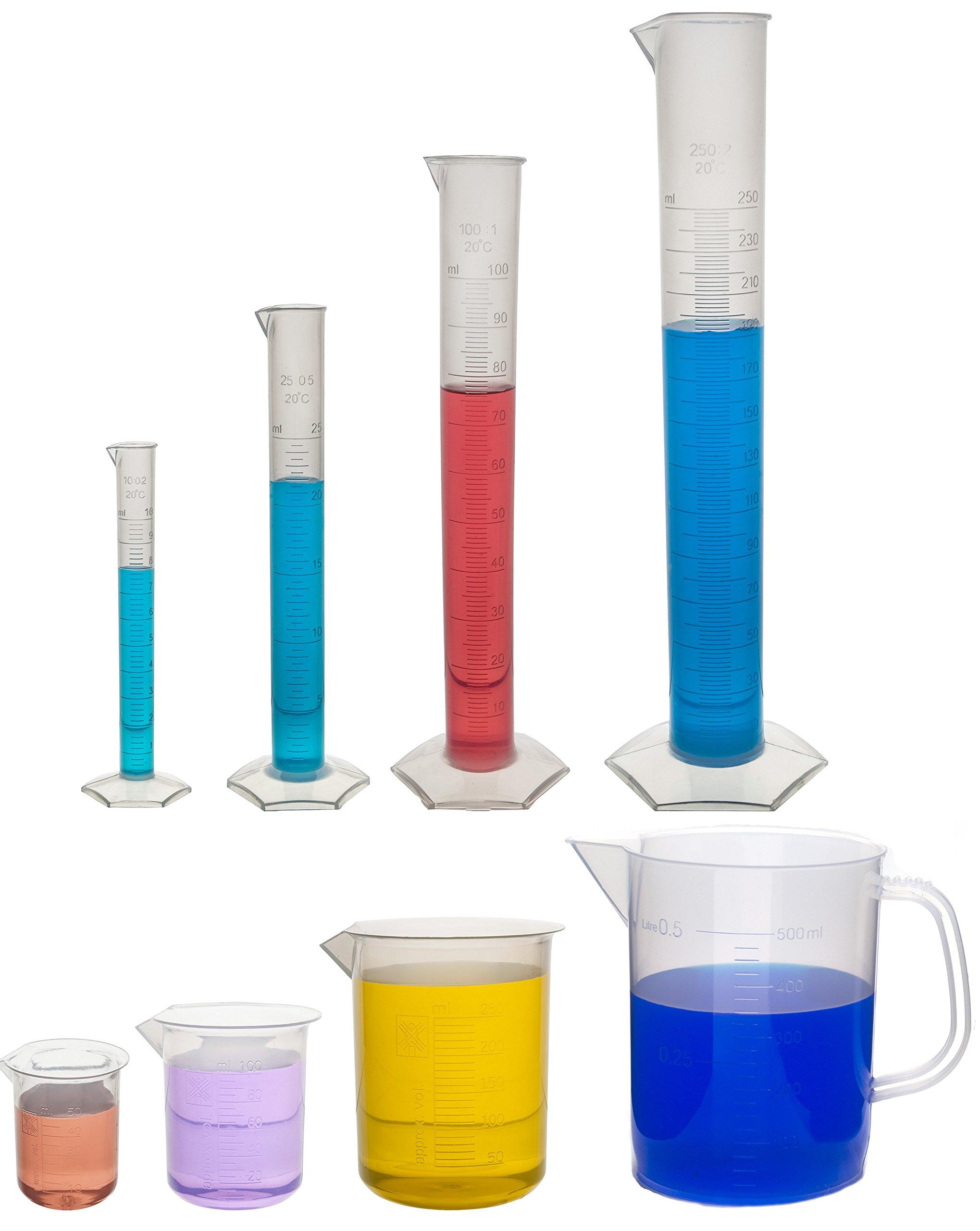 Polypropylene Plastic Measuring Volume Set - 3 Beakers, 4 Graduated Cylinders, 1 Pitcher