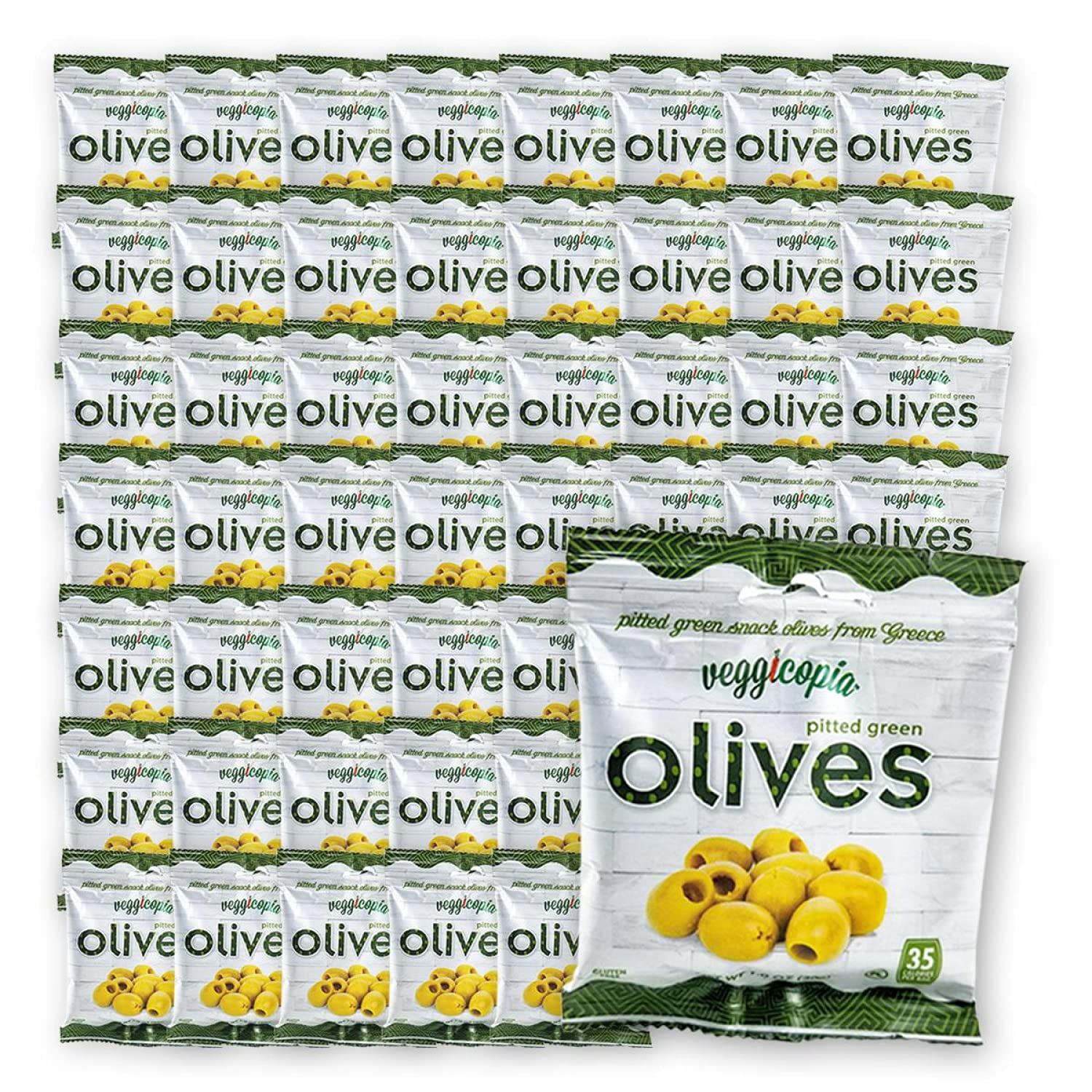 Veggicopia Olives, Tasty Green Pitted Olives - Keto - 1.05 Ounce Snack Bags (Bulk Pack - 48 bags)