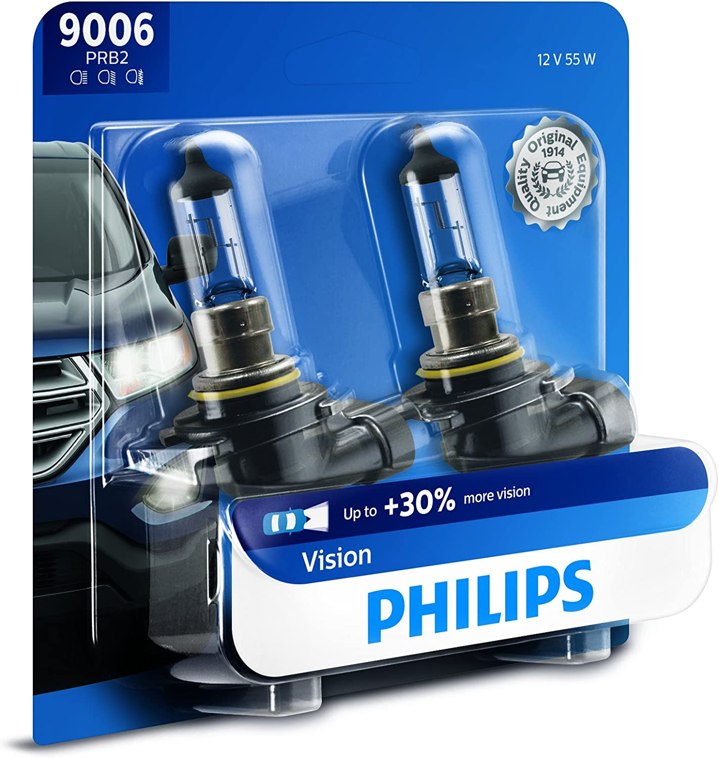 Philips 9006 Upgrade Headlight Bulb with up to 30% More Vision, 2 Pack