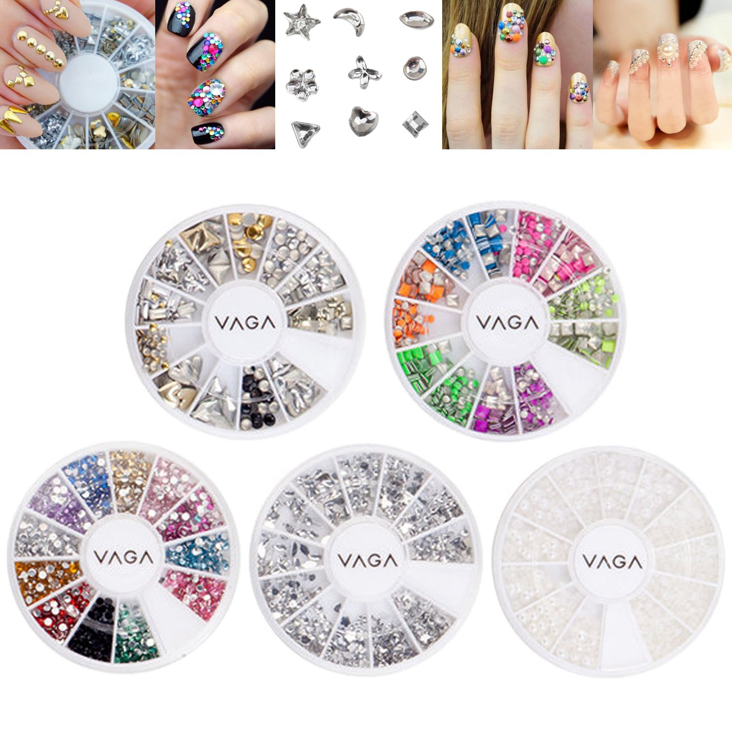 Amazing Value Set Kit of 5 High Quality Manicure 3D Nail Art Decorations Wheels With Rhinestones / Gemstones / Crystals / Jewels, Metal Studs, Pearls / Beads In Different Shapes And Colours By VAGA®