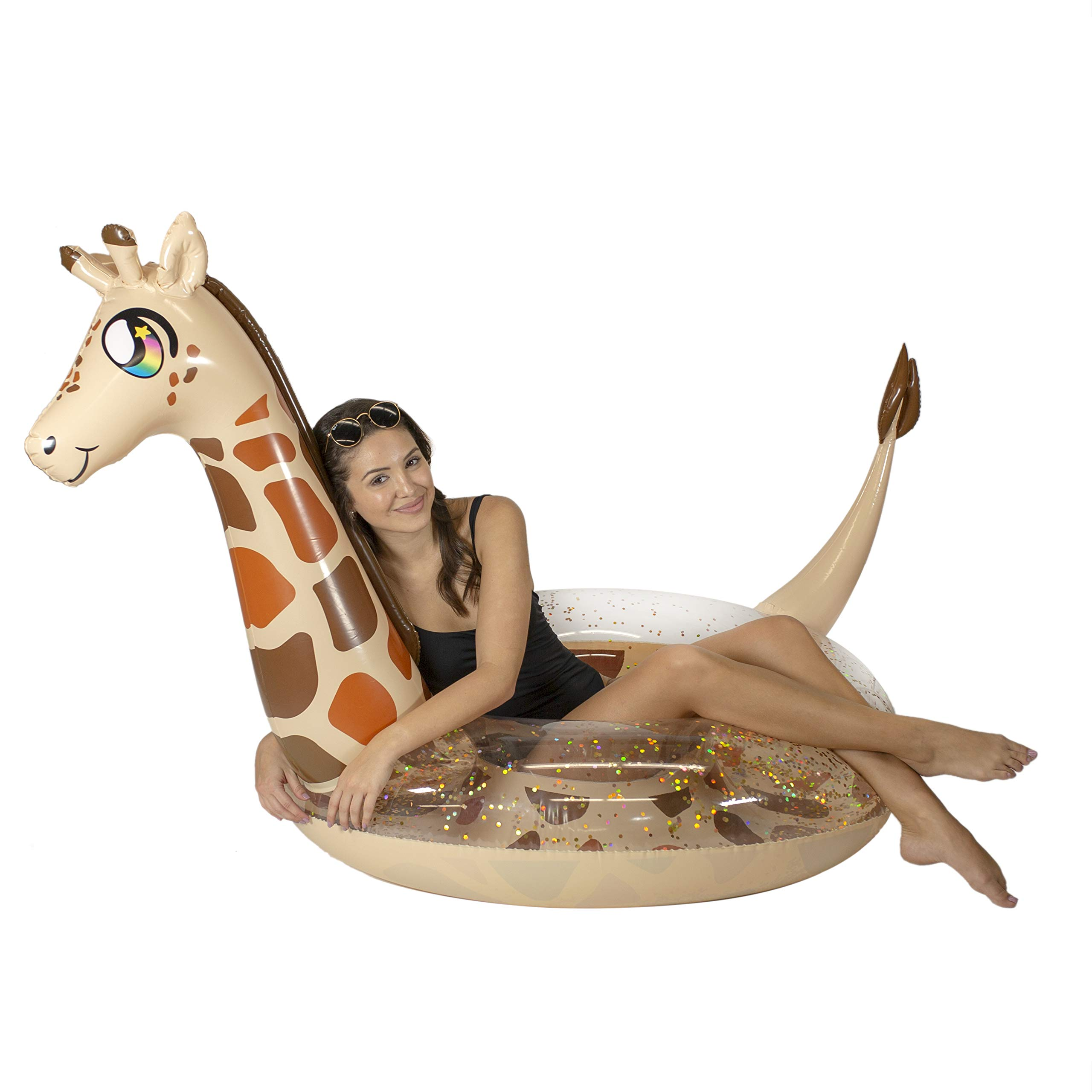 Poolcandy Inflatable Glitter Animal Collection Giraffe Jumbo Pool Float | Swim Ring - Measuring 56'' x 50'' x 50'' - Summer Pool Raft Lounge for Adults & Kids by Poolcandy