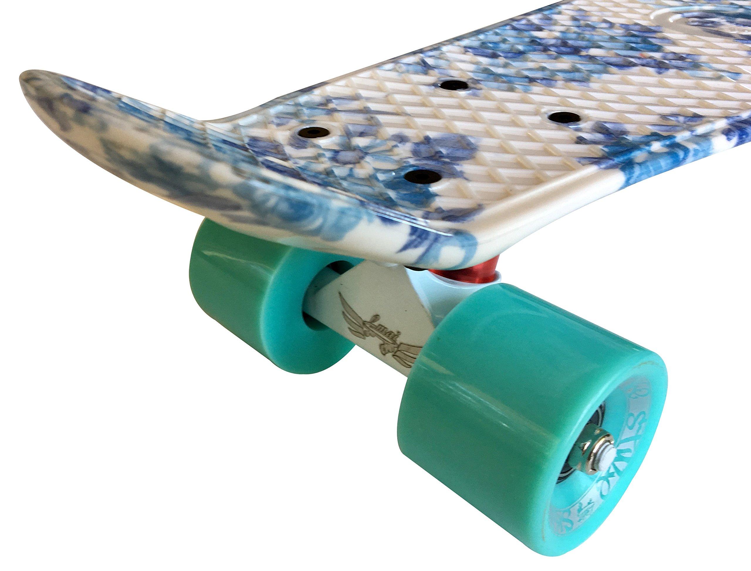 LMAI 22'' Cruiser Skateboard Graphic Blue Flower Floral Board Complete Skateboad