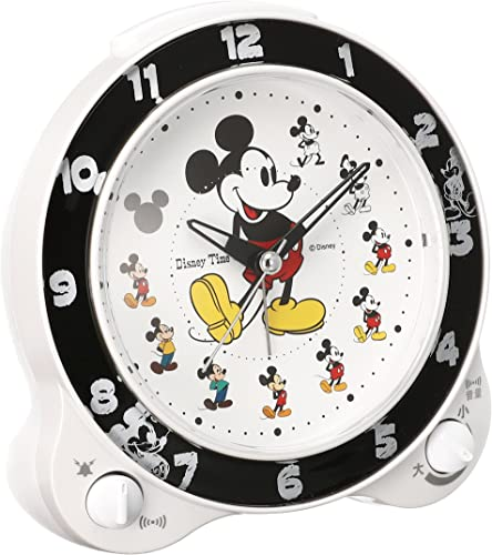 Seiko clock character alarm clock Mickey Mouse plastic frame white pearl paint FD461W