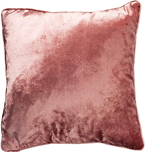 McAlister Textiles Shiny Velvet Filled Pillow Rose Pink Metallic Look Designer Plain Hand-Made BedDecorative Decor Throw Sofa Cushion for Bedroom Sofa Living Room Accessory – 16 x 24 Inches