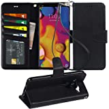 Arae LG V40 Case, LG V40 ThinQ Case, PU Leather Wallet case [Stand Feature] with Wrist Strap and [4-Slots] ID&Credit…