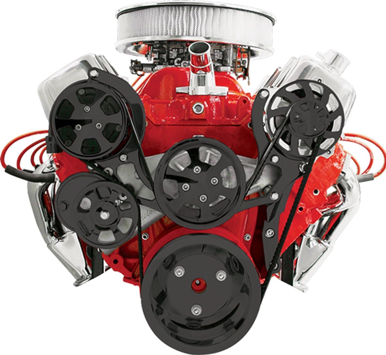 NEW BILLET SPECIALTIES TRU-TRAC BLACK BIG BLOCK CHEVY FRONT ENGINE KIT WITH WATER PUMP, ALTERNATOR, AIR CONDITIONER COMPRESSOR, BLACK SERPENTINE PULLEYS, ...