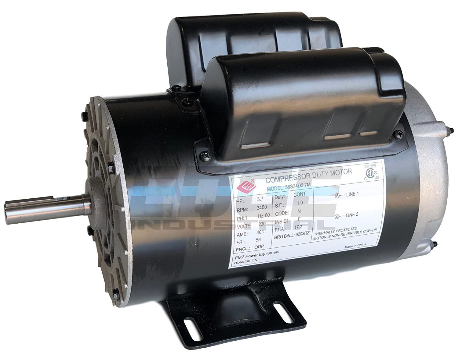 "NEW 3.7HP COMPRESSOR DUTY ELECTRIC MOTOR, 56 FRAME, 3450 RPM, 5/8"" SHAFT DIAMETER, NEMA RATED MOTOR, REPLACES 5HP SPL MOTORS RATED 15-17AMPS"
