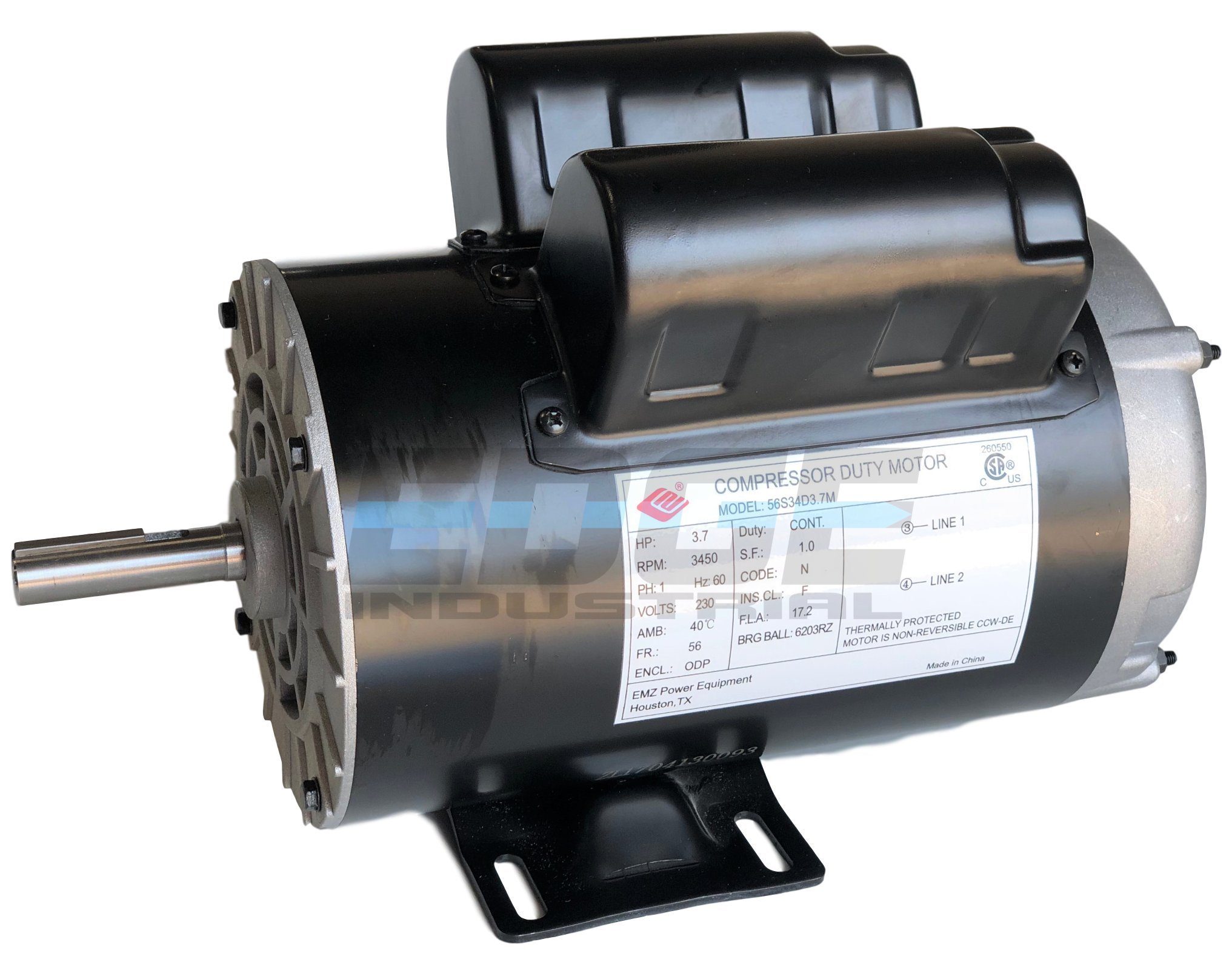 NEW 3.7HP COMPRESSOR DUTY ELECTRIC MOTOR, 56 FRAME, 3450 RPM, 5/8'' SHAFT DIAMETER, NEMA RATED MOTOR, REPLACES 5HP SPL MOTORS RATED 15-17AMPS