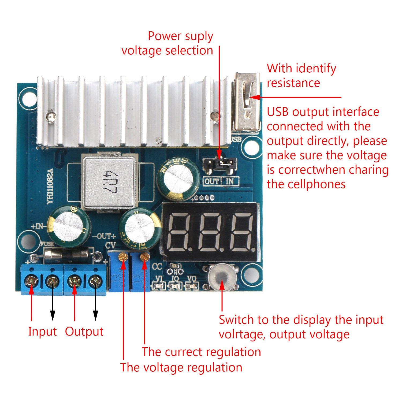 Drok Ltc1781 100w Dc Step Up Converter 3 35v To Adjustable Voltage Regulator Ampere Switching Constant Current With Volt Meter Usb Interface For Diy