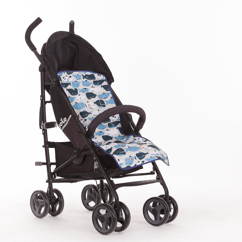 SLEEPAA Sitzauflage Sissi für Kinderwagen Antiallergische Universal Kinderwagen Buggy Waschbar (Happy Whales)