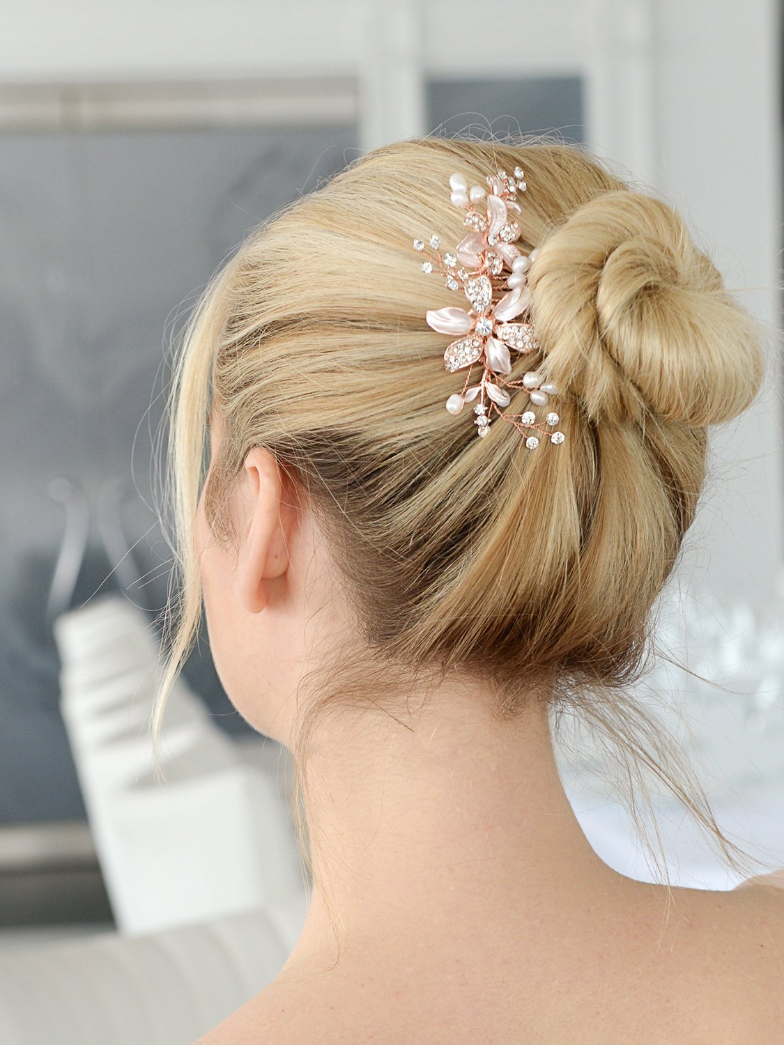Mariell Rose Gold Bridal Comb Freshwater Pearl, Hand-Painted Enamel Leaves Austrian Crystals by Mariell (Image #2)