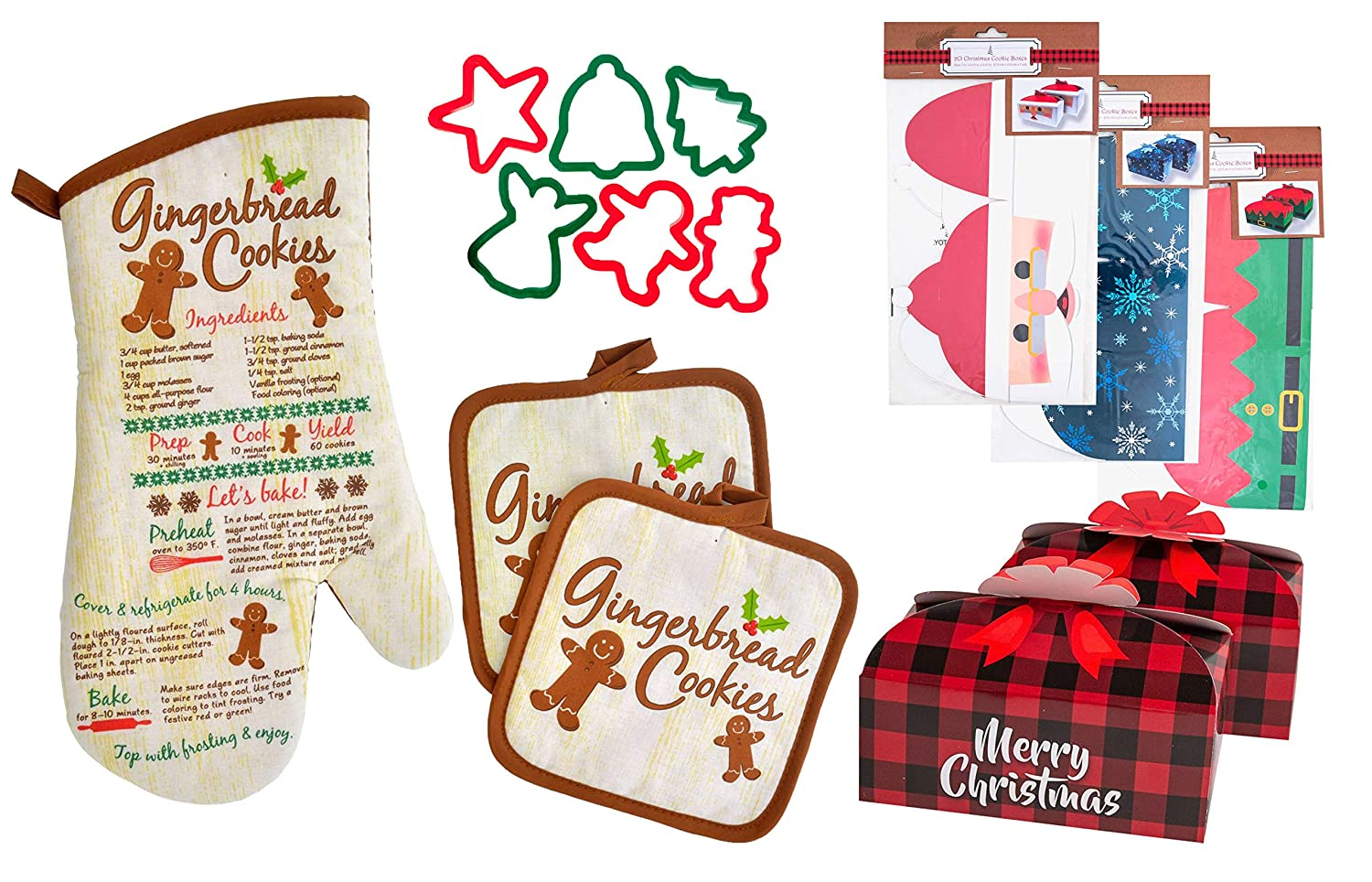 Christmas Printed Oven Mitt with Pot Holders Bundle with Cookie Cutters and Cookie Gift Boxes (4 Items in Bundle), Ideas, Personalized Holiday Presents (Gingerbread Set)
