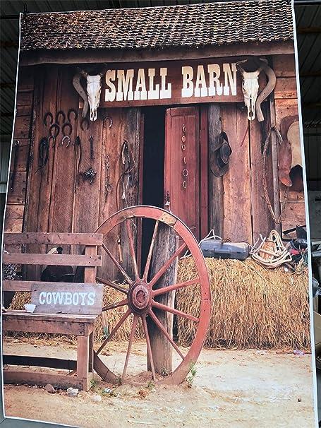 AOFOTO 8x8ft Vintage Rural Barn Backdrop Western Cowboy Haystack Photography Background Rustic Farm Tools Bike Old Wheel Hub Horseshoe Photo Studio Props West Style Adult Artistic Portrait Wallpaper