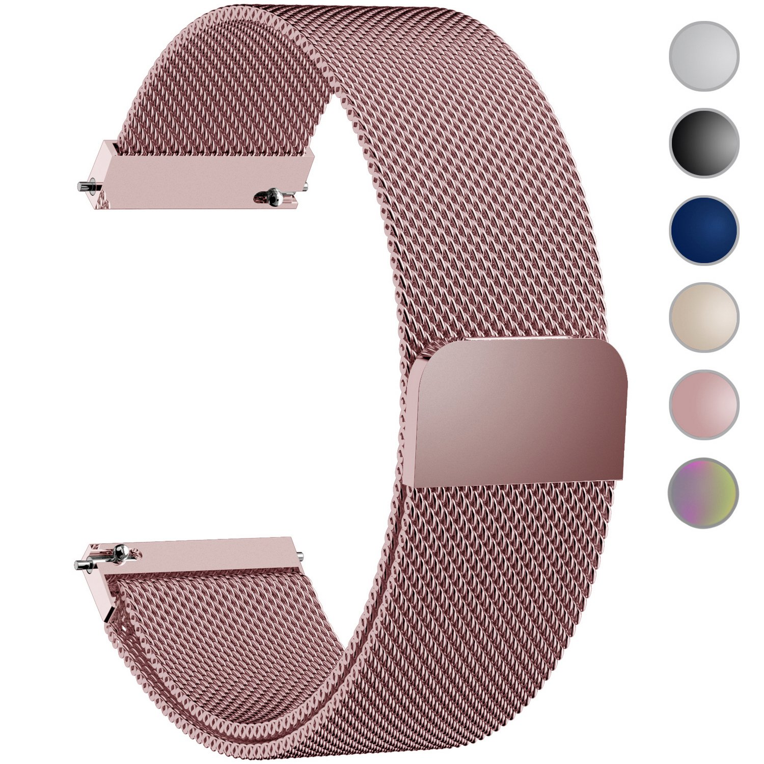 6 Colors for Quick Release Watch Strap, Fullmosa Milanese Magnetic Closure Stainless Steel Watch Band Replacement Strap for 20mm Rose Pink