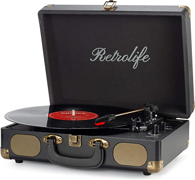 Vinyl Record Player 3-Speed Bluetooth Suitcase Portable Belt-Driven Record Player with Built-in Speakers RCA Line Out AUX in Headphone Jack Vintage Turntable | Amazon