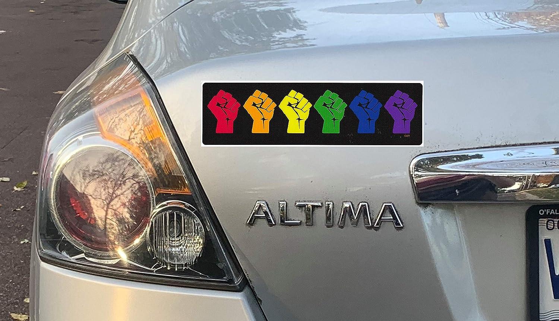 Gear Tatz Gay Pride Resist Fists New Bumper Car Sticker//Decal pro Gay Pride LGBT LGBTQ Flag Colors for Cars for Trucks for Adults