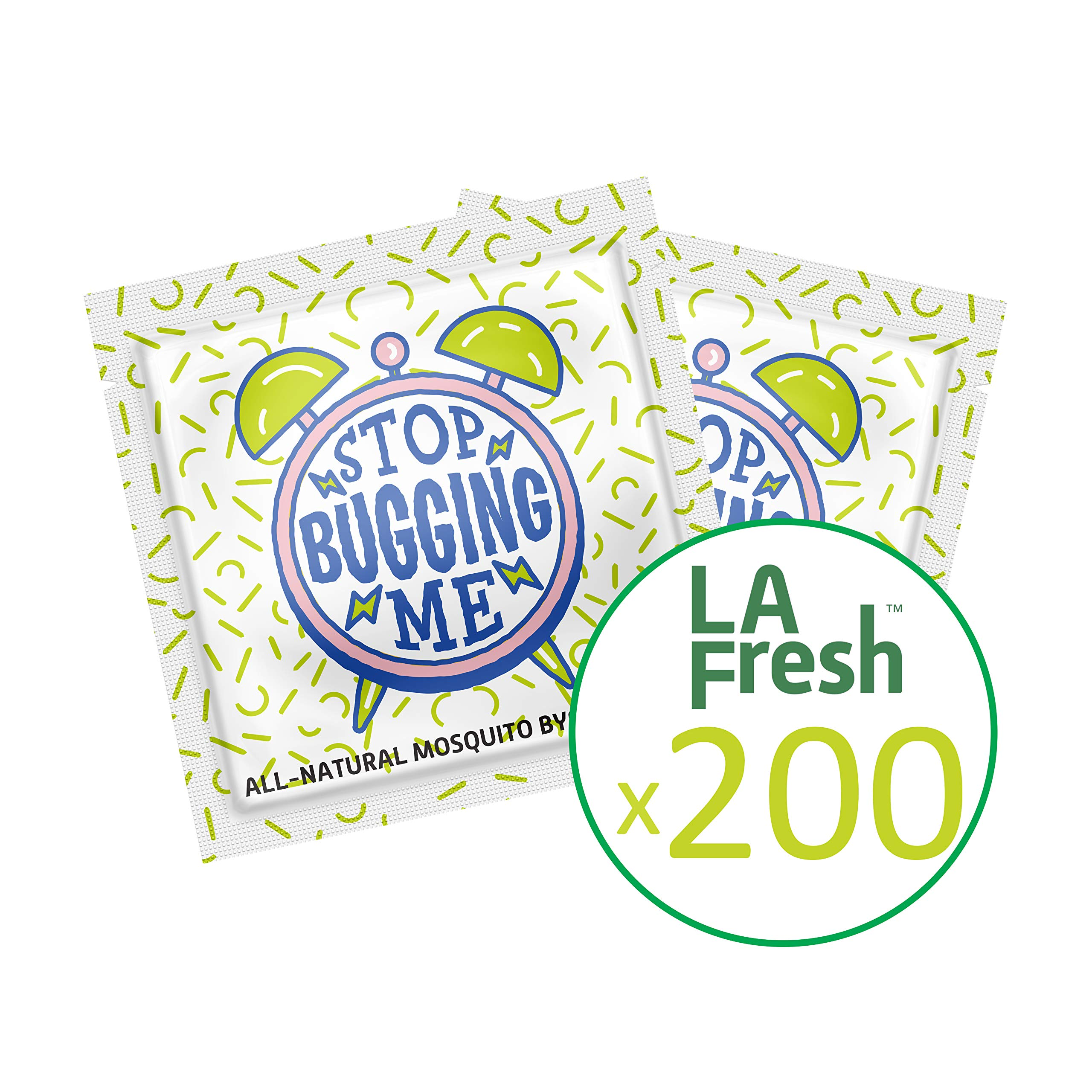 La Fresh Mosquito Repellent Wipes, Individually Wrapped - Natural, Deet Free, Non Toxic, Long Lasting Repellent Protects Against Almost All Bugs 200 Packets by La Fresh