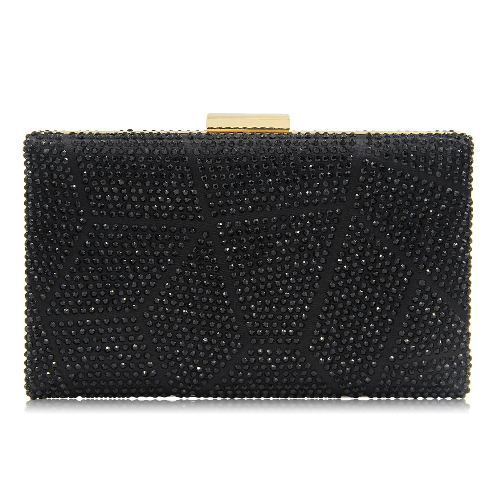 Women Clutches Crystal Evening Bags Clutch Purse Party Wedding Handbags (Black)