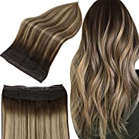 Full Shine Invisible Crown Hair Extensions 18 Inch Real Human Hair Balayage Fish Line Extensions Color 2 Fading to 3 and 27 Hidden Crown Hair Extensions Real Hair 80 Grams Fish Line Hair Extensions