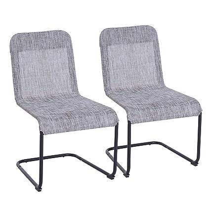 Amazon.com: Juego de 2 sillas de comedor Outsunny de malla ...