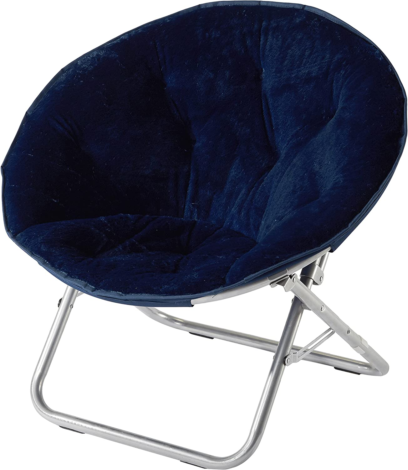 Urban Shop Faux Fur Saucer Chair, Navy
